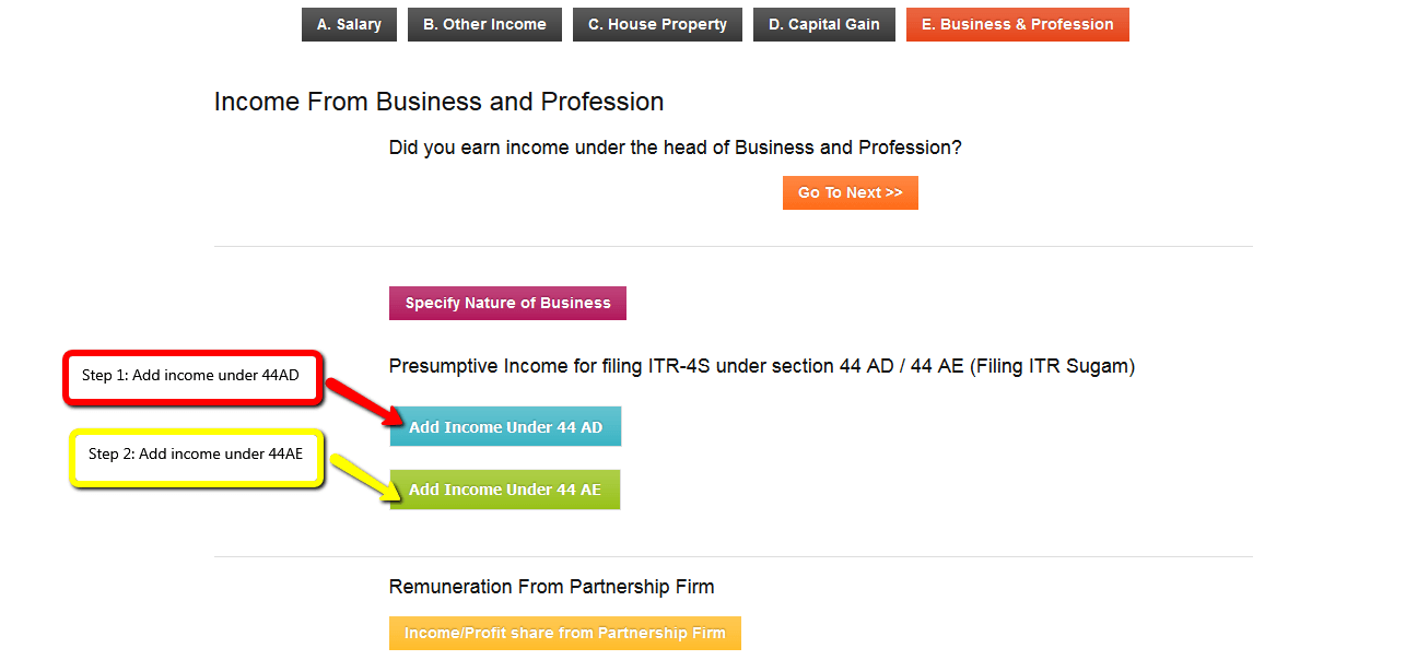 Picture of the Business and Profession tab
