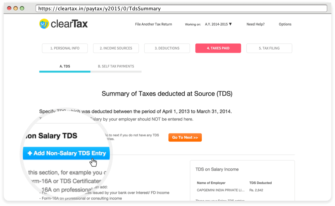 how to get tds return acknowledgement number